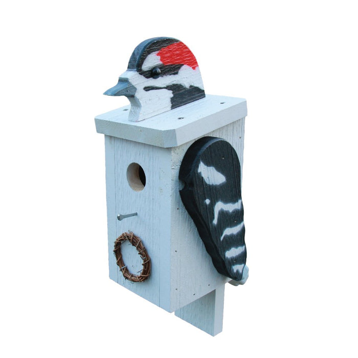 DOWNY WOODPECKER BIRDHOUSE - Large Solid Wood USA Handmade