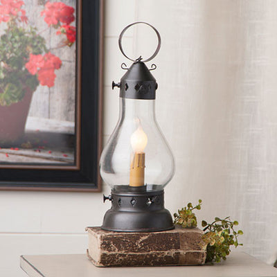 "Colonial ""Onion"" Hurricane Lantern Accent Light in Smokey Black Finish"