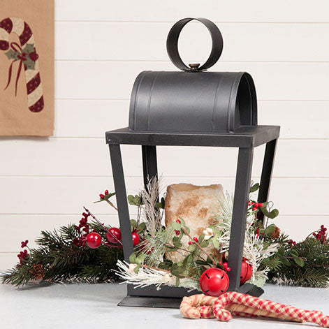 Angled Sitting Lantern n Smokey Black Finish Rustic Farmhouse Decor