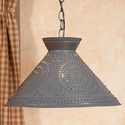 PUNCHED TIN PENDANT LIGHT Large Chisel Pattern Ceiling Light in Blackened or Rustic Tin & Kettle Black