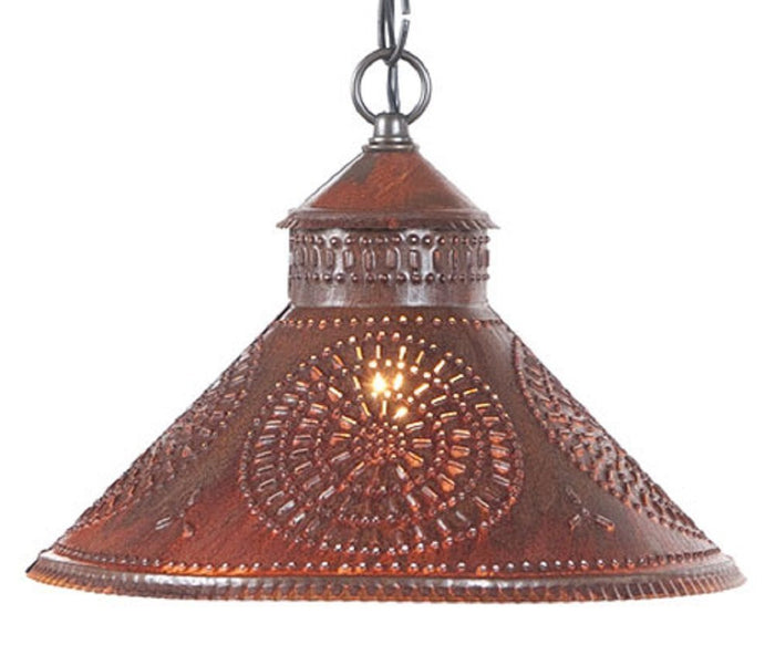 PUNCHED TIN PENDANT LIGHT Chisel Patter Ceiling Lamp in Blackened or Rustin Tin & Kettle Black