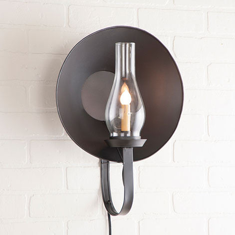 Large Electric Hurricane Sconce with Glass Globe in Smokey Black Finish