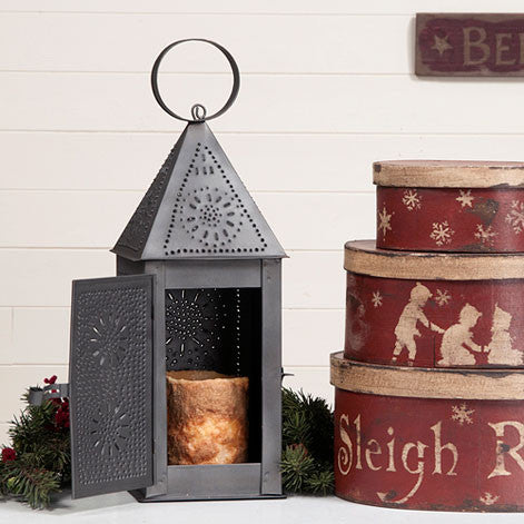 Punched Tin Square Lantern Rustic Coloinial Candle Holder