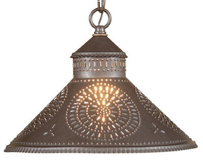 PUNCHED TIN PENDANT Chisel Pattern Center Down Lamp in Blackened or Rustic Tin & Kettle Black
