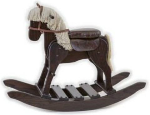WOODEN ROCKING HORSE with Faux LEATHER SADDLE Amish Handmade Solid Wood Rocker Toy