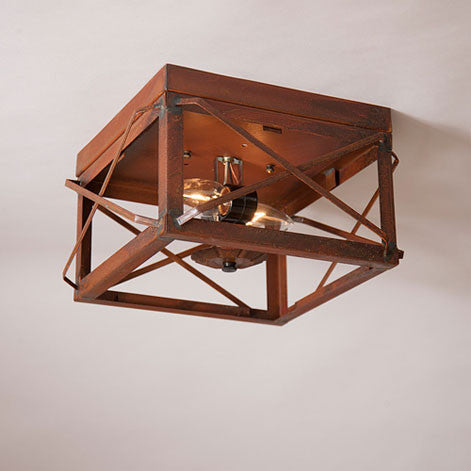 CEILING LIGHT in RUSTIC TIN with FOLDED BARS Dual Socket (No Glass) Handcrafted in USA