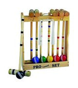 "CROQUET SET & CADDY 6 Player 24"" Maple Wood & Brass Amish Handmade"
