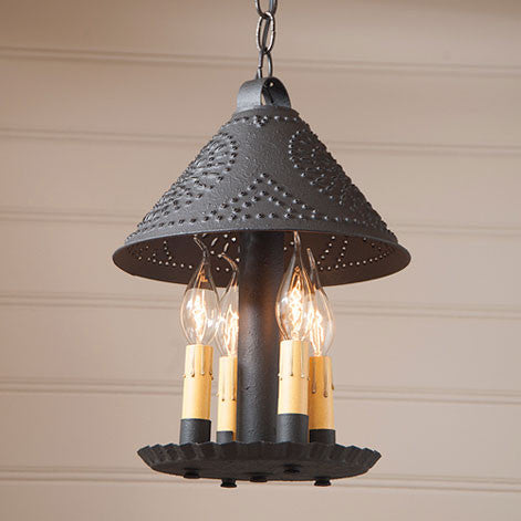 BRITTON PUNCHED TIN PENDANT LIGHT Handcrafted 4 Candle Primitive Hanging Light
