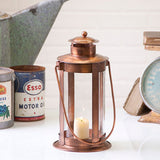 Garden Lantern with Glass Cylinder in Copper Finish