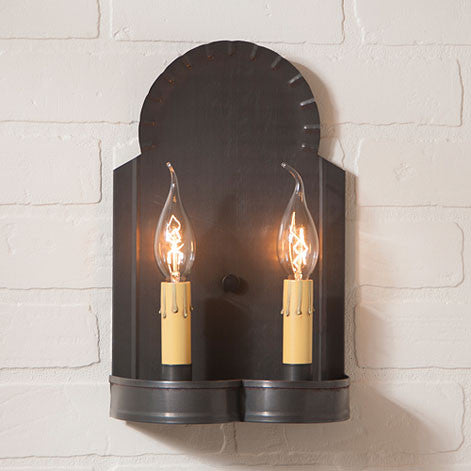 Hanover Double Candle Sconce with Handcrafted in Blackened Tin