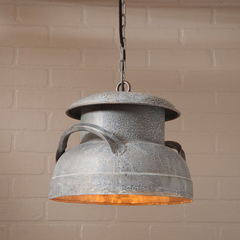 Milk Can Pendant Hanging Light in Weathered Zinc Finish