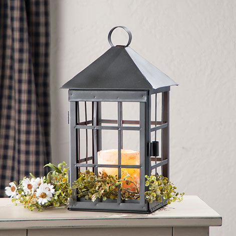 Square Mission Lantern with Handmade Bars in Smokey Black Finish