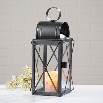 Pilgrim Lantern with Glass Panels in Smokey Black Finish