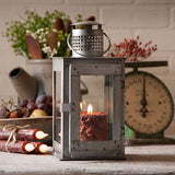 SQUARE SPRINGHOUSE LANTERN CANDLE LAMP Antiqued Polished Tin with Glass Panels & Door