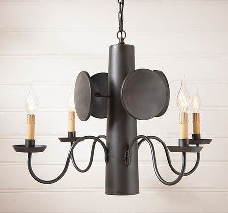 WHALER 4 Arm Nautical Chandelier Primitive Colonial Light in Smokey Black Finish