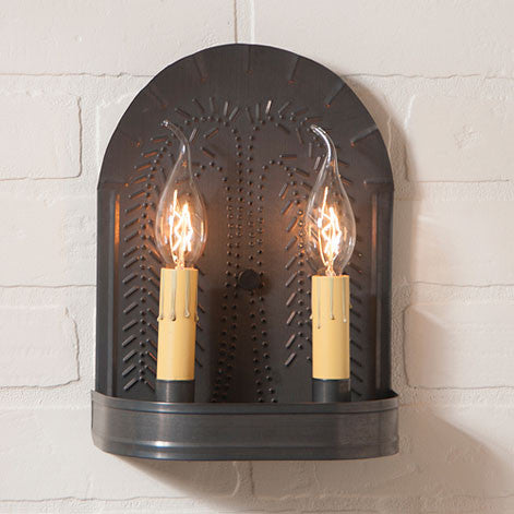Double Candle Sconce with Punched Tin Willow Pattern