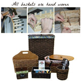 MAGAZINE RACK - Hand Woven Natural Reed Basket with Wood Divider Handle