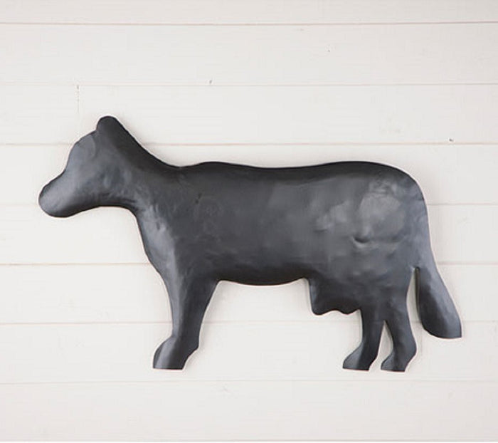 Country Cow Metal Wall Hanger in Smokey Black Finish