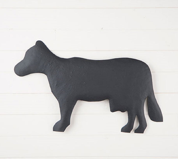 Large Metal Cow Wall Hanger in Textured Black Finish