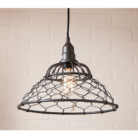 Loft Cage Pendant ~ Hanging Light in Smokey Black Finish