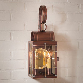 Dual Candle Colonial Outdoor Wall Antique Copper Sconce Made in USA