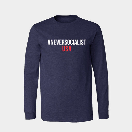 #NeverSocialist USA Long Sleeve T-Shirt - Navy