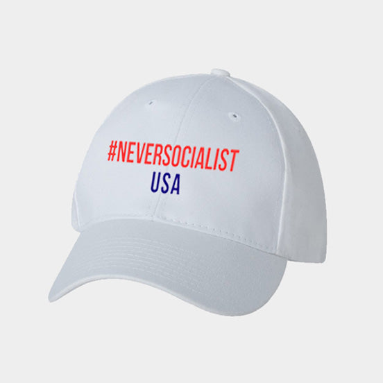 #NeverSocialist Hat - White