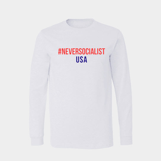#NeverSocialist USA Long Sleeve T-Shirt - White