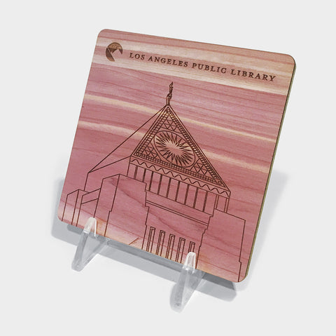 The Library Store Los Angeles Public Library Engraved Wood Coaster