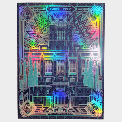 The Library Store Art Deco LAPL Print - Rainbow Foil Edition