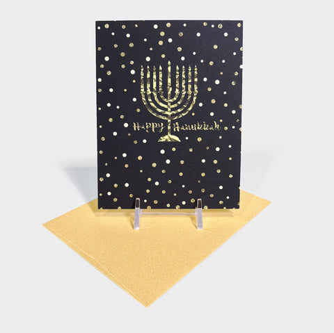 The Library Store Gold Hanukkah Card