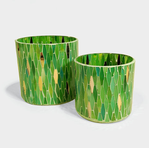 The Library Store Green Mosaic Candleholder
