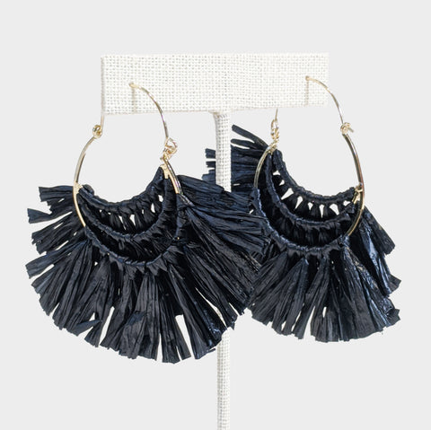 The Library Store Ruffled Raffia Hoops - Black