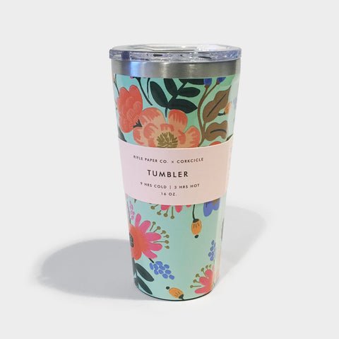 The Library Store RiflePaper Tumbler 16 Oz - Gloss Mint Floral