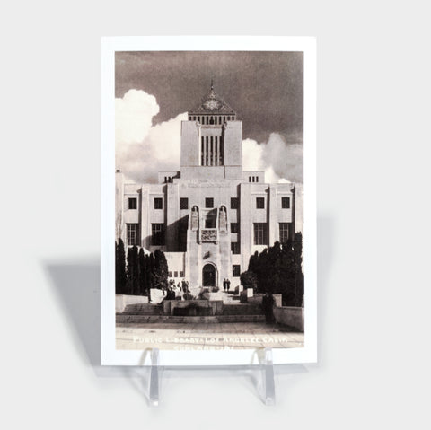 The Library Store Vertical Black & White Central Library Postcard