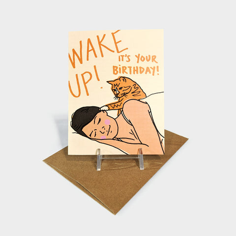 The Library Store Wake Up Cat Birthday Card