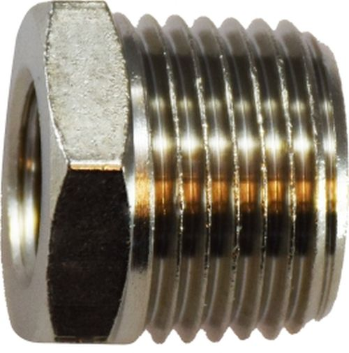 28873 | 1/4M BSPT X1/8F BSPP N-PLTD BUSH, Brass Fittings, BSPT/ BSPP  Fittings, Bushing BSPT Male x BSP Female