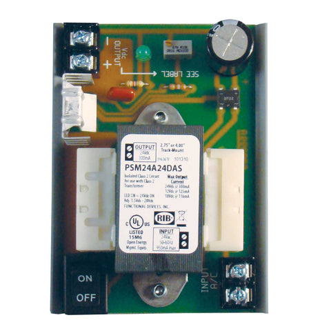 PSM24A24DAS | FDI | GEN. PUR. DC SUPPLY, Isolated 24Vac Input, w/MT212-4 track, fits 2.75 or 4in trk