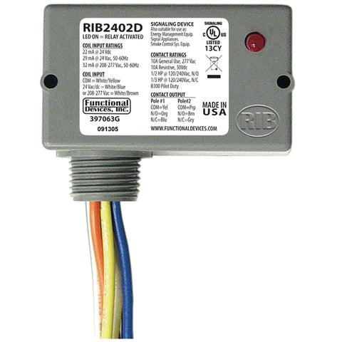 RIB2402D | FDI | Enclosed Relay 10Amp DPDT 24Vac/dc/208-277Vac