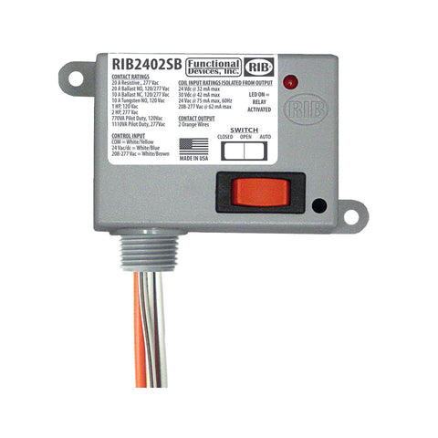 RIB2402SB | FDI | Enclosed Relay 20Amp SPST-NO + Override 24Vac/dc/208-277Vac