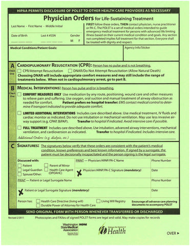 Physician Orders for Life Sustaining Treatment (POLST) Forms