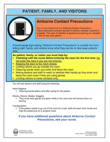 Patient and Family Precautions: Airborne Contact Precautions