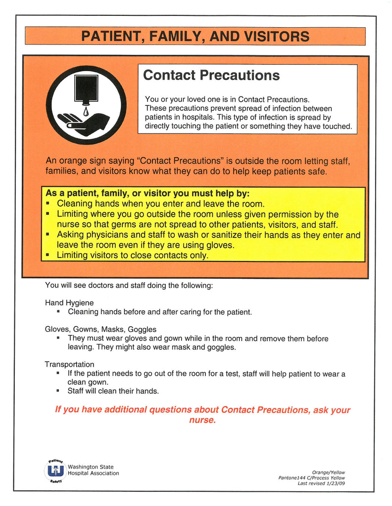 Patient and Family Education: Contact Precaution