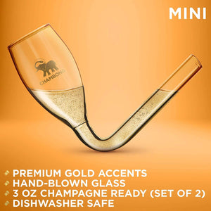 CHAMBONG – 3 oz Mini Size, 2 Pcs Glass with Gold Accents and Premium Gift Box – Champagne Shooter Glass Flute – Fun Party Favor, Bachelorette, Bridesmaids Gifts