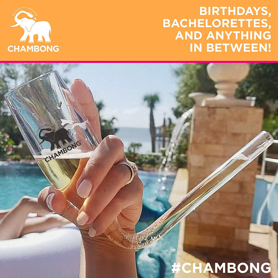 CHAMBONG – 8 oz King Size, 1 Pc Glass with Premium Gift Box – Champagne Shooter Glass Flute – Fun Party Favor, Bachelorette, Bridesmaids Gifts