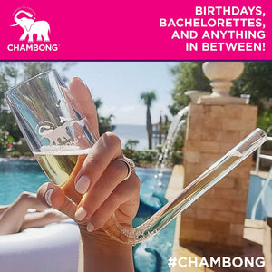 CHAMBONG – 6 oz Classic Size, 5 Pcs Acrylic Shatterproof Party Pack with Premium Gift Box - Champagne Shooter Plastic Flute - Fun Party Favor, Bachelorette, Bridesmaids Gifts