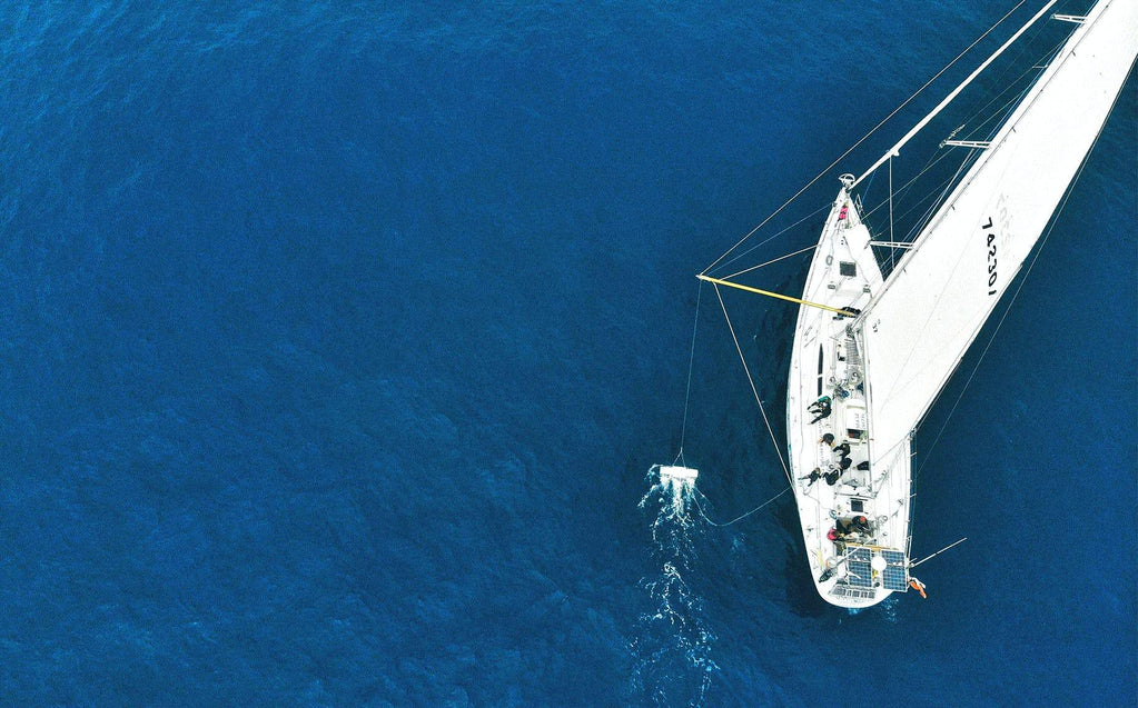 Birdseye view of the eXXpedition yacht, sailing in the ocean.