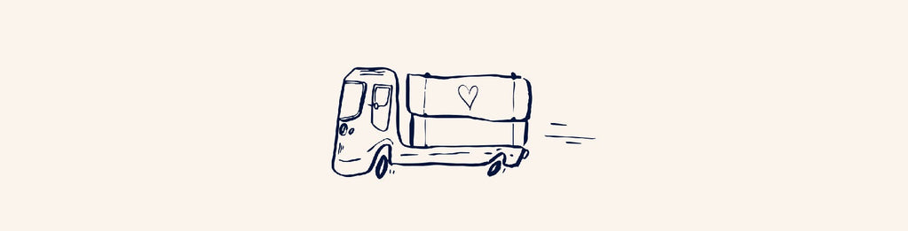 Illustration of a truck moving with a heart symbol on it.
