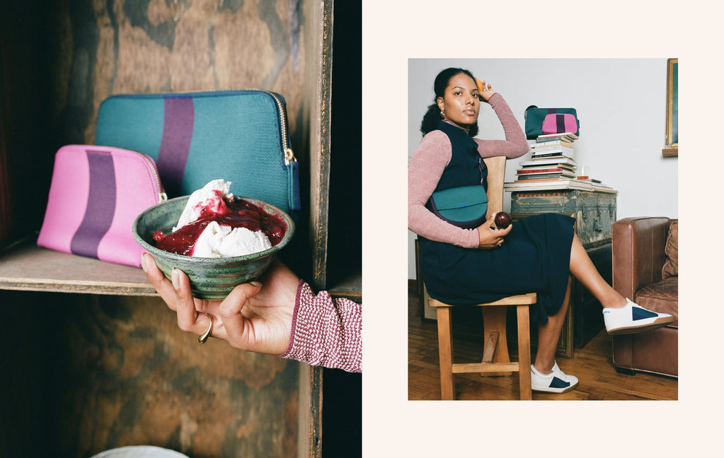 On the left, a bowl of ice cream with plum berry compote, held in front of The Vanity Set in Spruce and Raspberry. On the right, Chef Tara sitting on a wooden chair wearing The Saddle Bag in Deep Spruce.