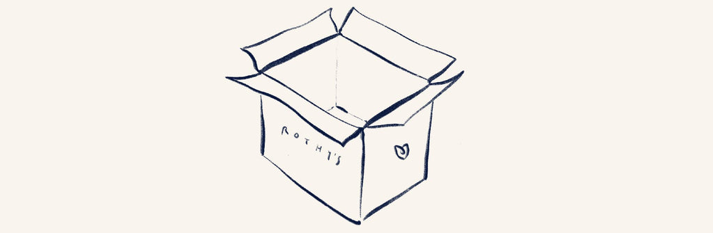 Illustration of an open cardboard box, with the Rothy's logo on it.